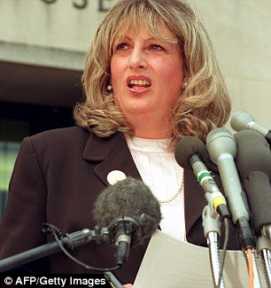 Public role: Linda Tripp in July 1998 outside Washington DC Federal Courthouse after her eight day of grand jury testimony
