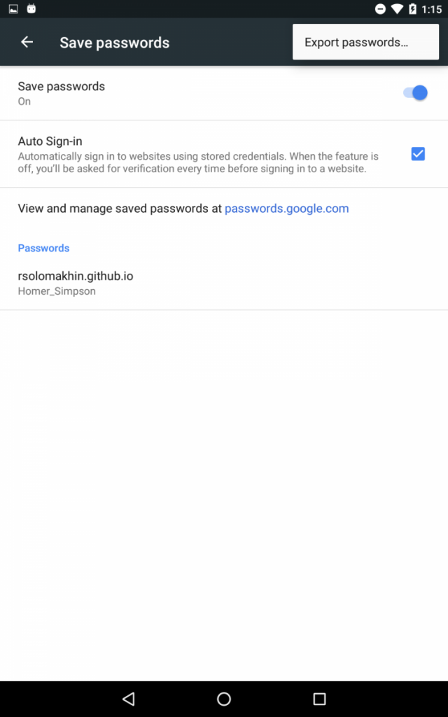 Google Chrome Export Passwords