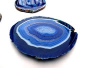 Blue AGATE COASTERS Slice SINGLE - Blue Teal agate coasters, agate slice, stone coasters, sliced crystal coaster, jewel coaster, stoneware