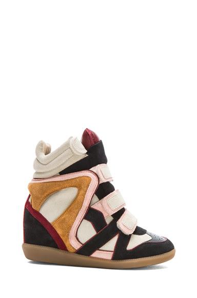 Isabel Marant|Wila Over Basket Calfskin Velvet Leather Sneakers in Anthracite [1]