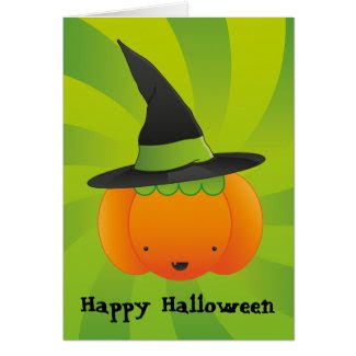 Halloween Pumpkin Witch Card