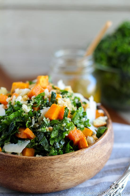 Kale and Roasted Sweet Potato Salad | Celebrating Sweets