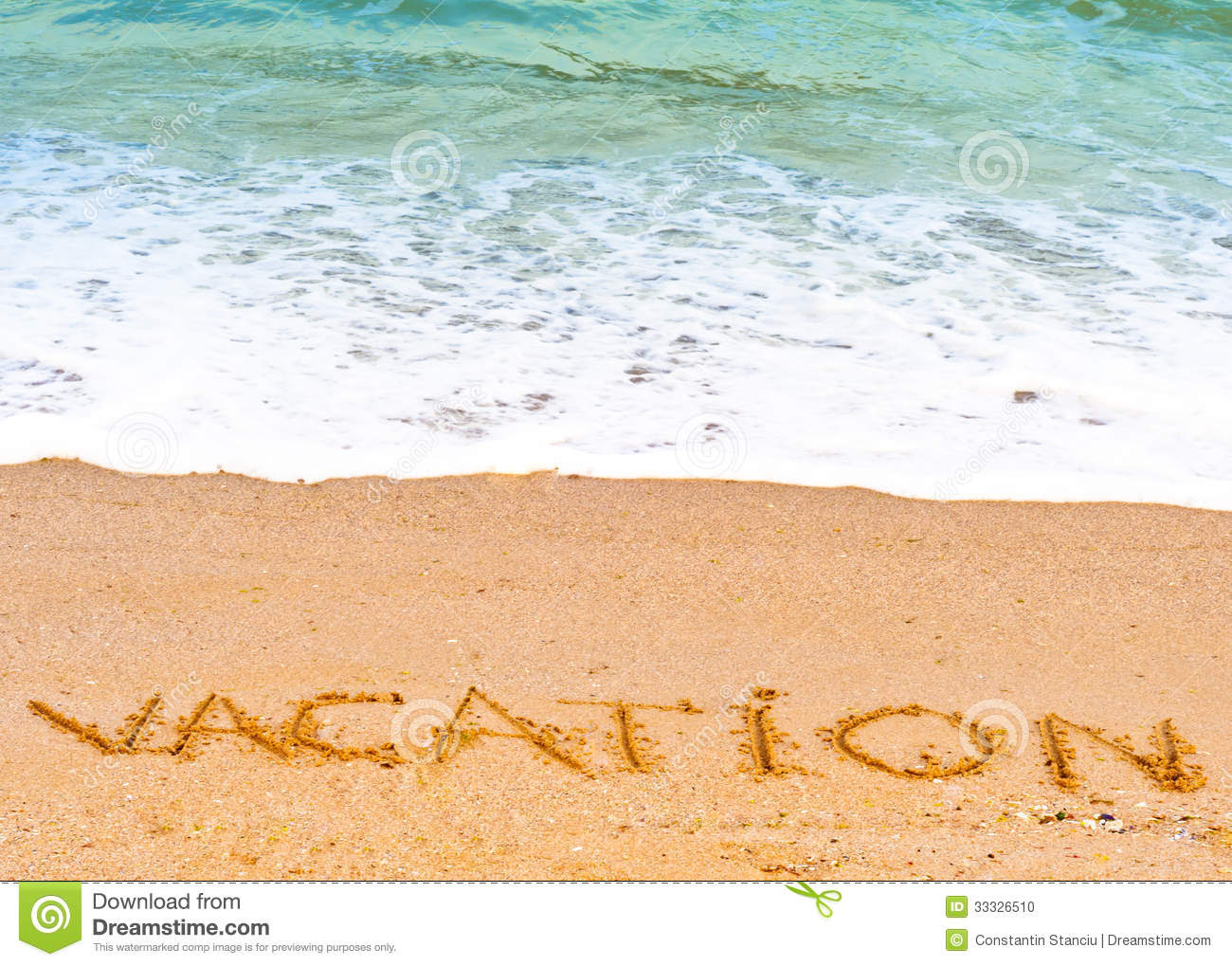 Vacation Word Written In The Sand On The Beach Blue Waves ...