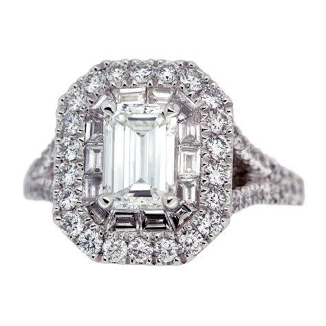 Double Halo Emerald Cut Diamond Engagement Ring