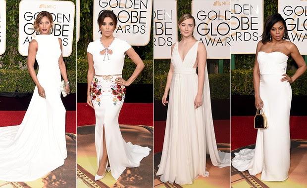 Top 10 Globo de Ouro 2016 - Branco - Laverne Cox, Eva Longoria, Saoirse Ronan e Taraji P. Henson (Foto: AFP)