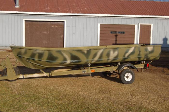 14 foot Aluminum hunting boat with trailer (NO MOTOR) for sale in