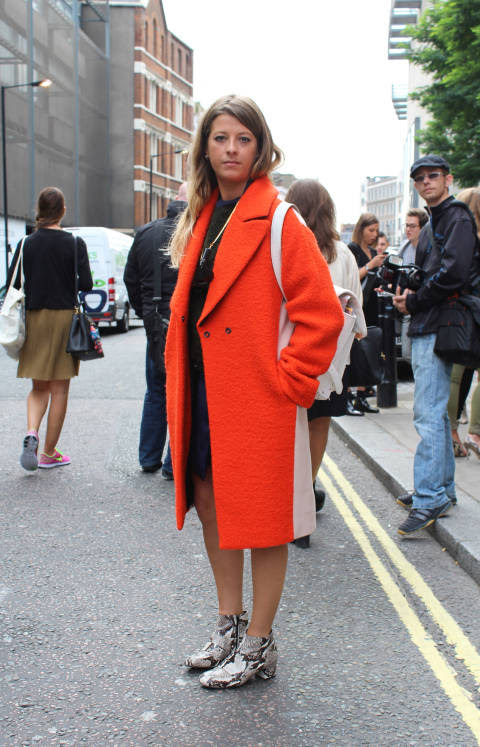 Flossie wears: Coat: Cedric Charlier, Boots: Topshop