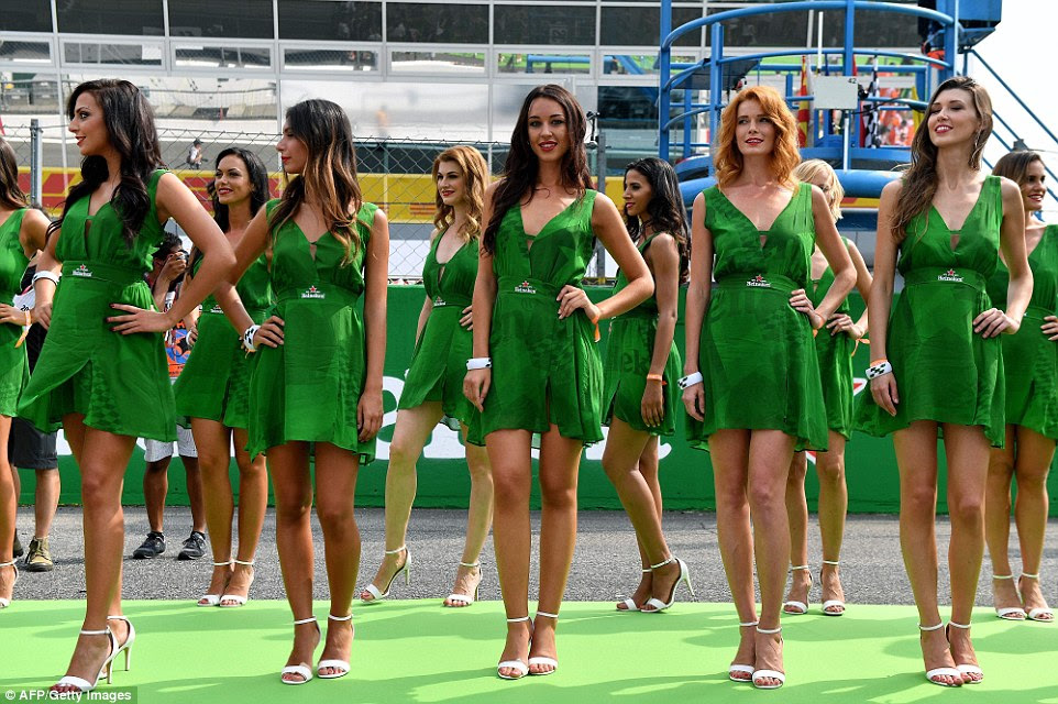 Grid girls look on prior to the start of the Italian Grand Prix - the final European race of the 2016 Formula One season