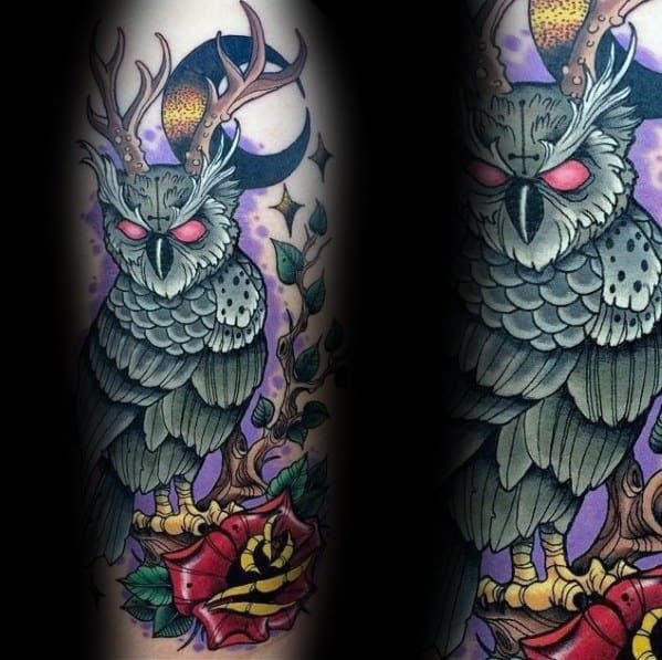 40 Neo Traditional Owl Tattoo Ideas For Men - Bird Designs