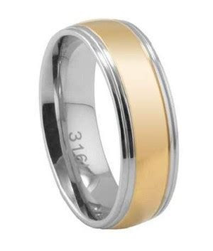 Stainless Steel Men's Wedding Ring, Two Tone Gold Center, 7mm