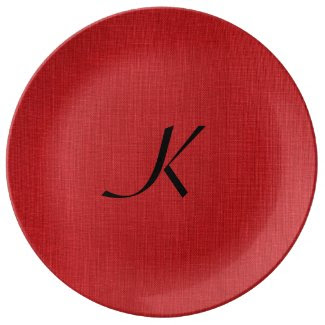 Red Linen Texture Photo with Monogram Porcelain Plate