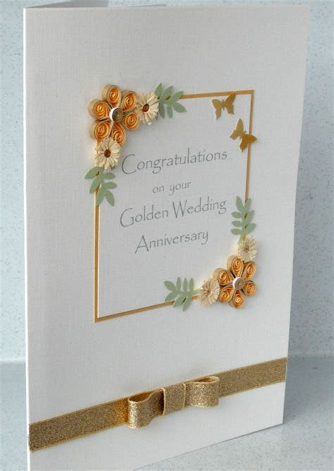 50th anniversary card, quilled golden wedding. £6.00, via