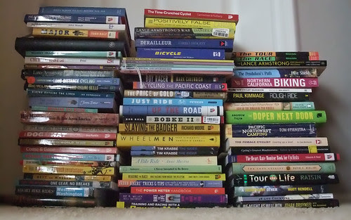 Stack of Cycling books_0565