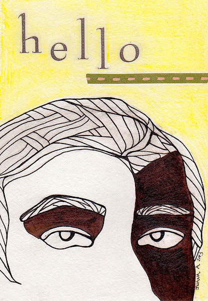 hello I postcard art
