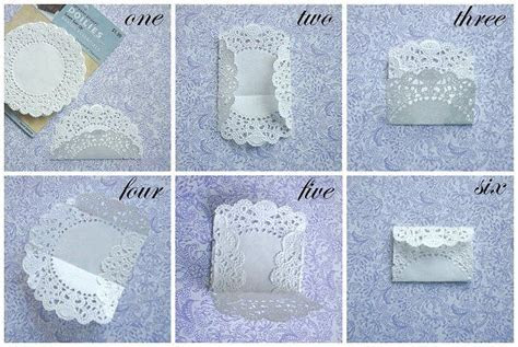 step by step how to make paper doily envelopes.   Baby