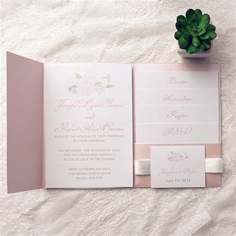 cheap spring pink flower pocket wedding invitation kits