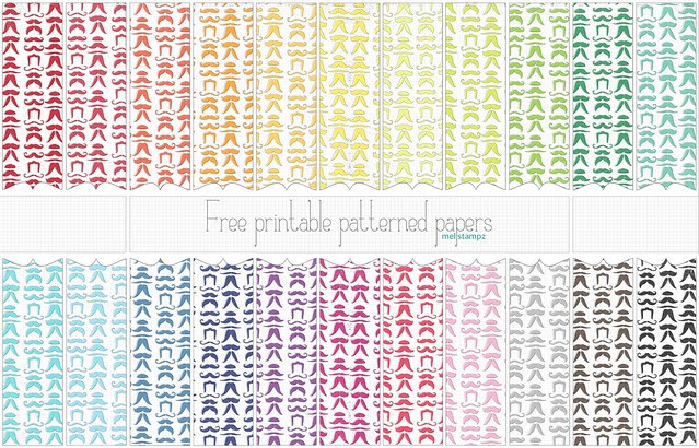 mustache papers - free printable digital patterned paper set PREVIEW copy