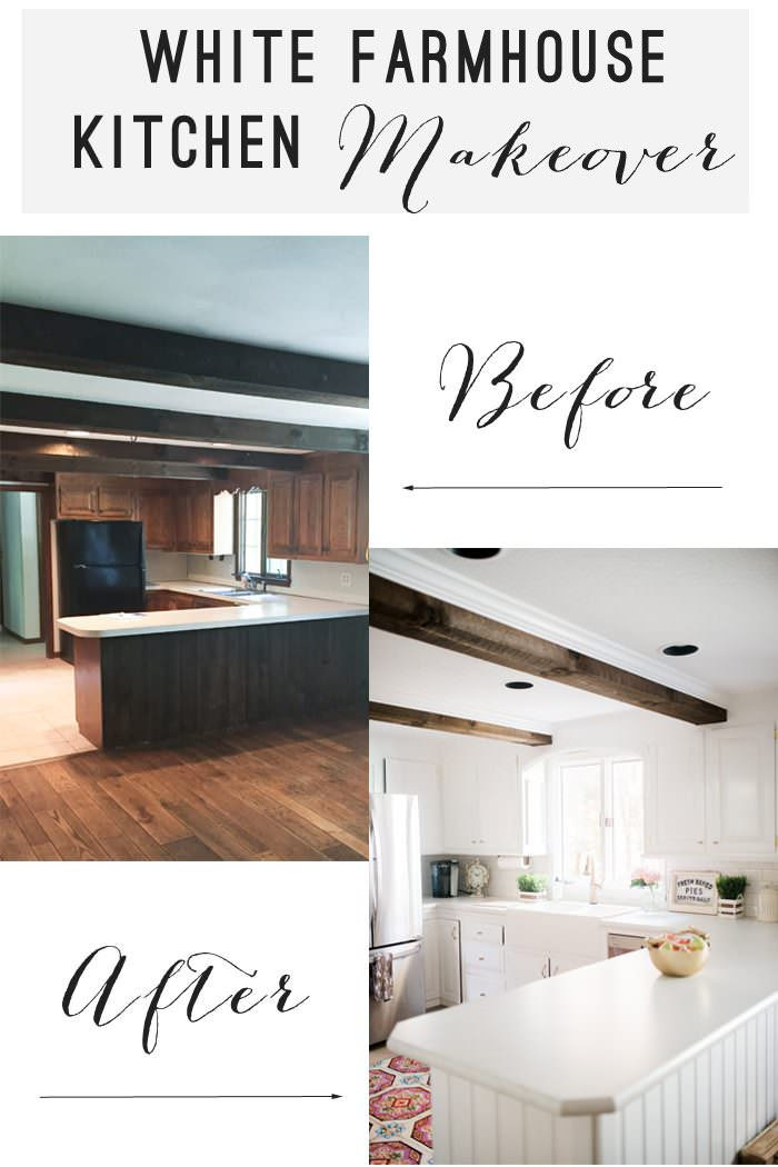 White Farmhouse Kitchen Makeover with gold accents before and after