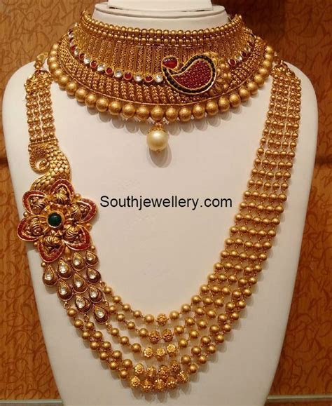 Antique Gold Choker and Long Chain   dimond jawellry