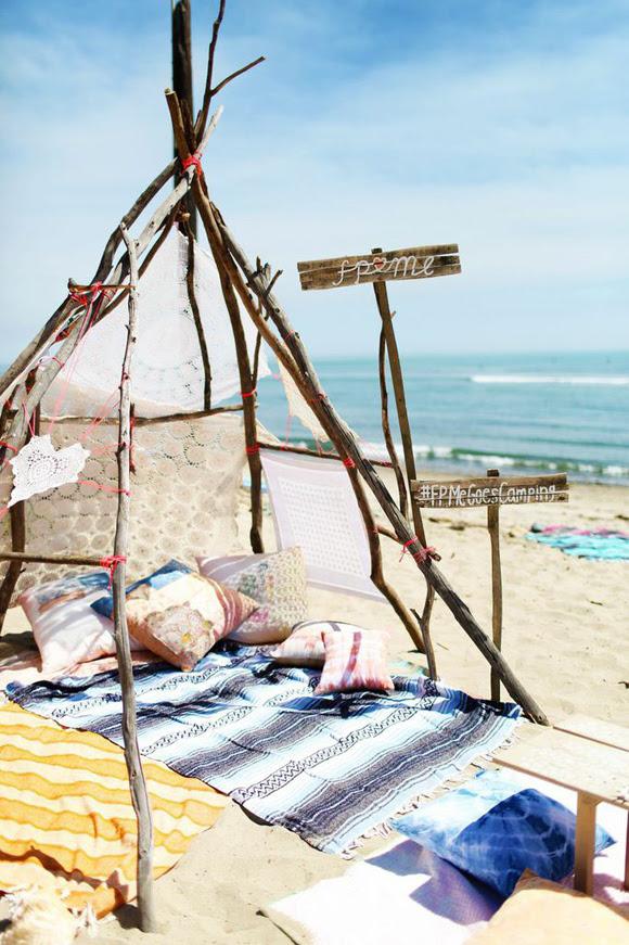 beach camping setup