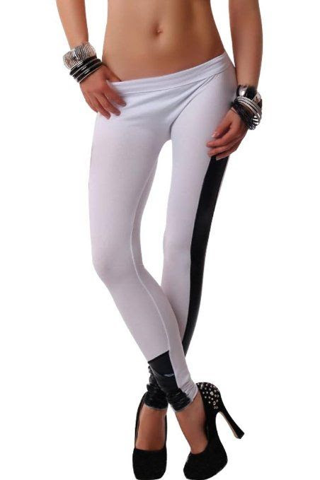 Amour - New Black Stretchy Getting Ripped Leggings Tights Pants (A Star :Black): Clothing