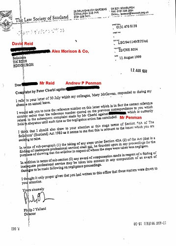 Philip Yelland letter to David Reid ordering him not to take instructions