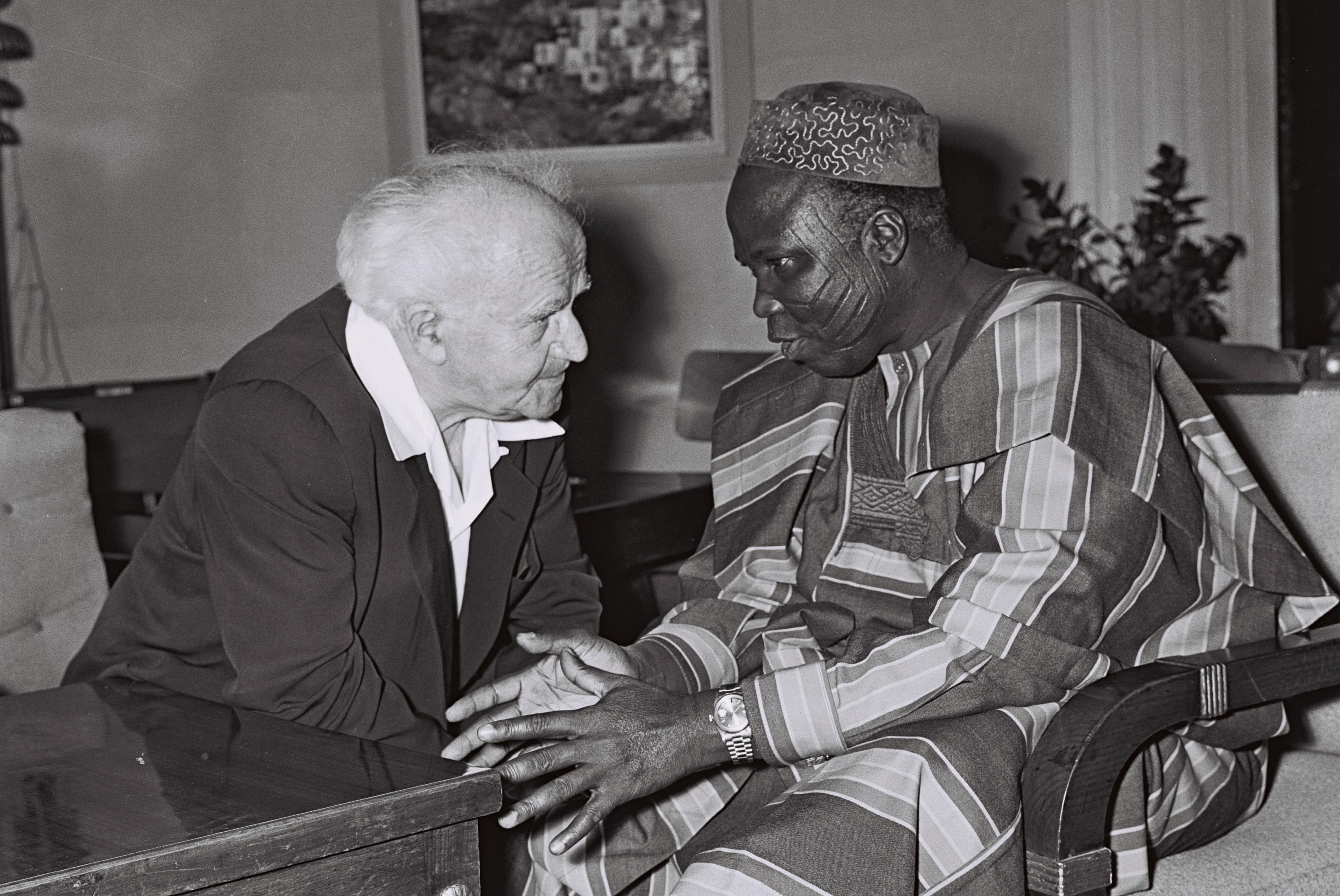 Chief S L Akintola Prime minister of western Nigeria in conversation with prime minister of Israel David Ben Gurion at Ben Gurion`s Office,Jerusalem. Circa 1961
