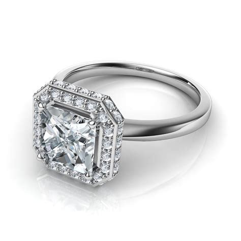 Classic Shank Two sided Pavé Princess Cut Halo Engagement