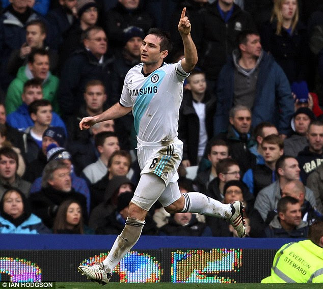 Heads I win: Frank Lampard headed Chelsea level from Ramires' cross just before half-time