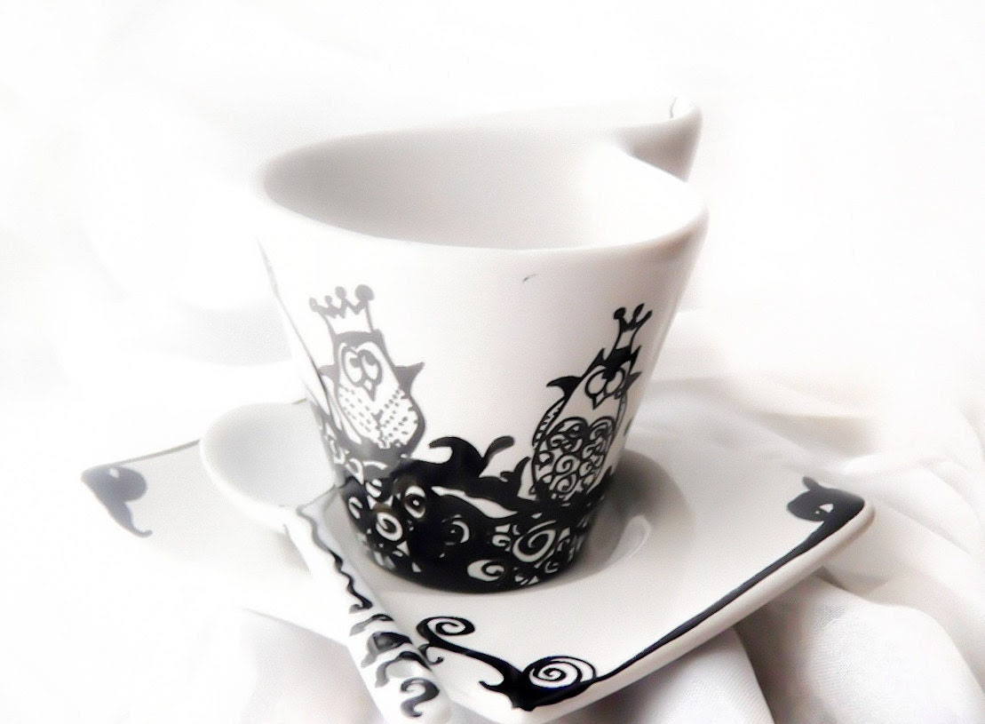 Hand painted Owl on Espresso coffee cup asymmetric with illustration of Owl's kingdom espresso cup