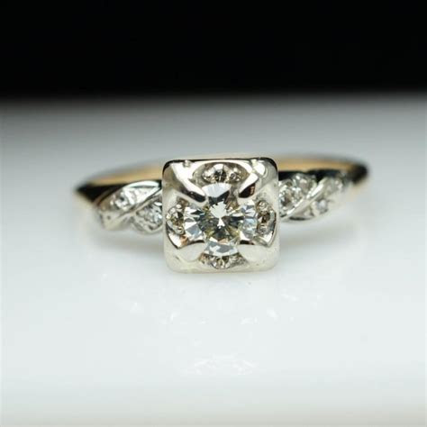 Vintage Engagement Ring Art Deco Diamond Engagement Ring