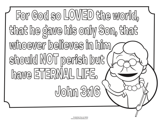 48 Bible Coloring Pages John 3 16 For Free