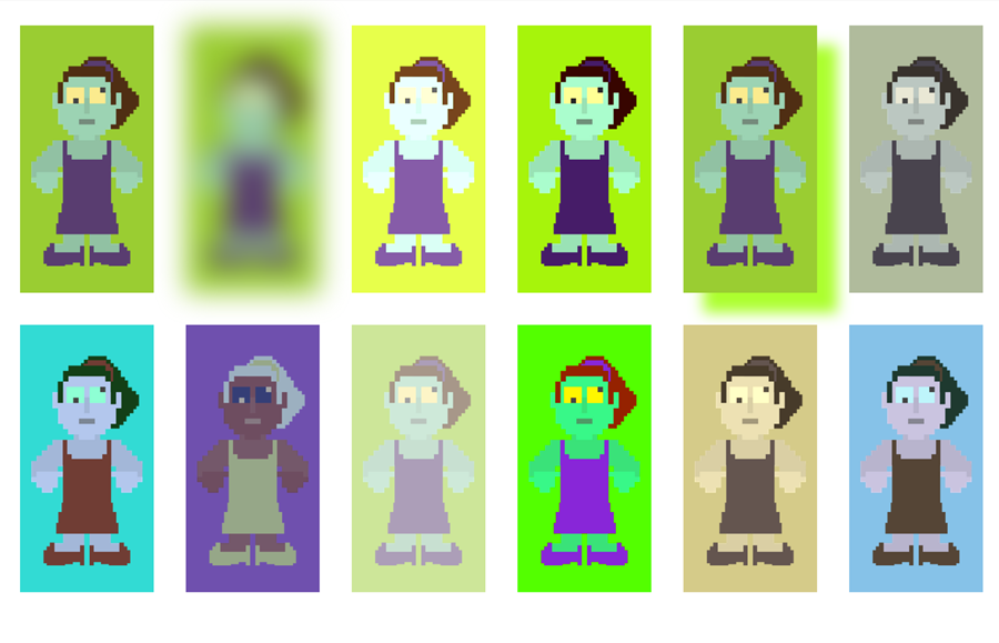 Images of zombies with different filter modes applied