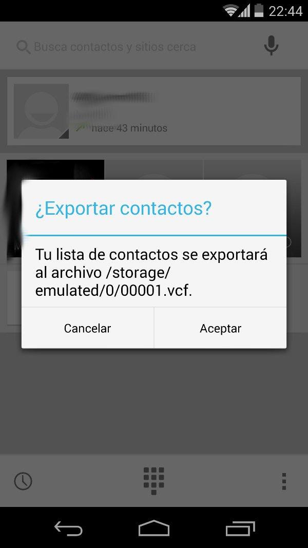 exportar vcf contactos android