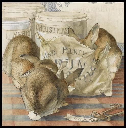 Three Rabbits Eating Plenty of Buns