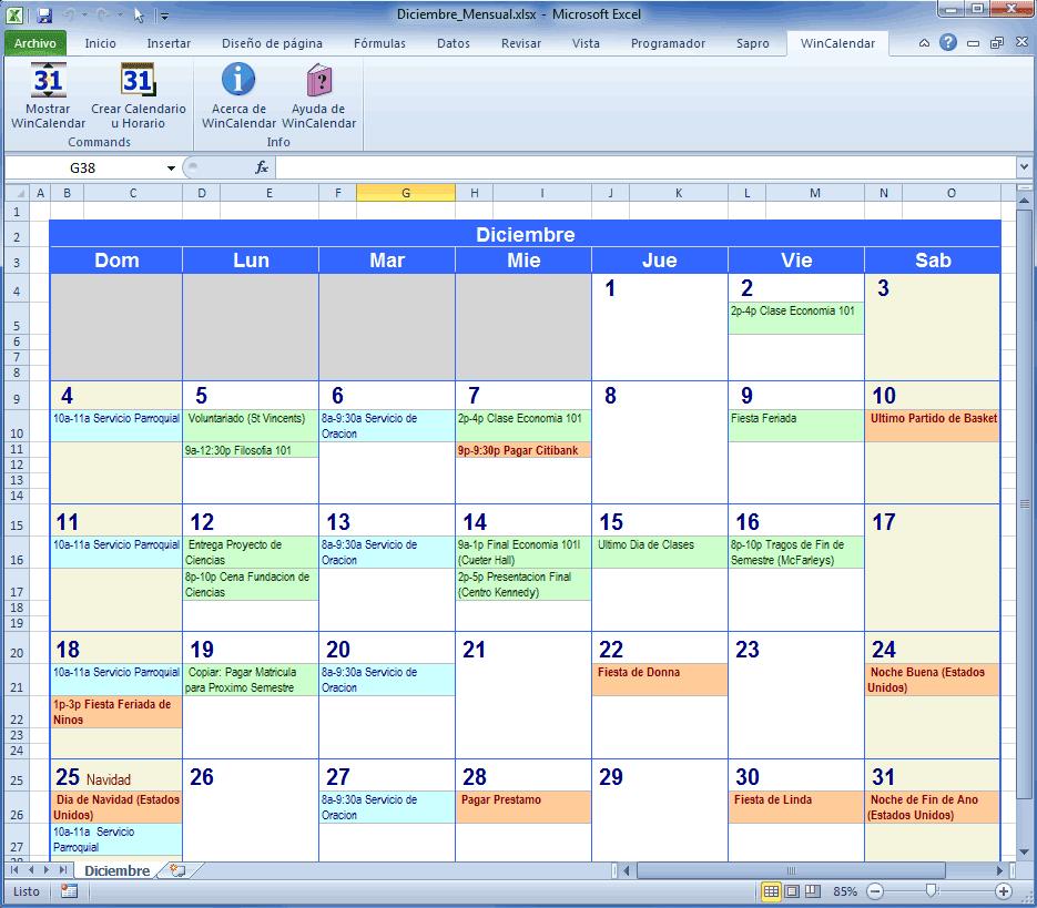 Calendario Con Eventos