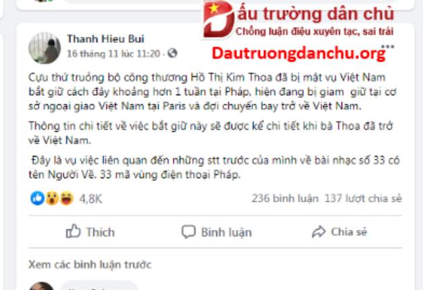 Lộ rõ mưu đồ Bùi Thanh Hiếu dựng chuyện 'bắt giữ bà Hồ Thị Kim Thoa' ở Pháp