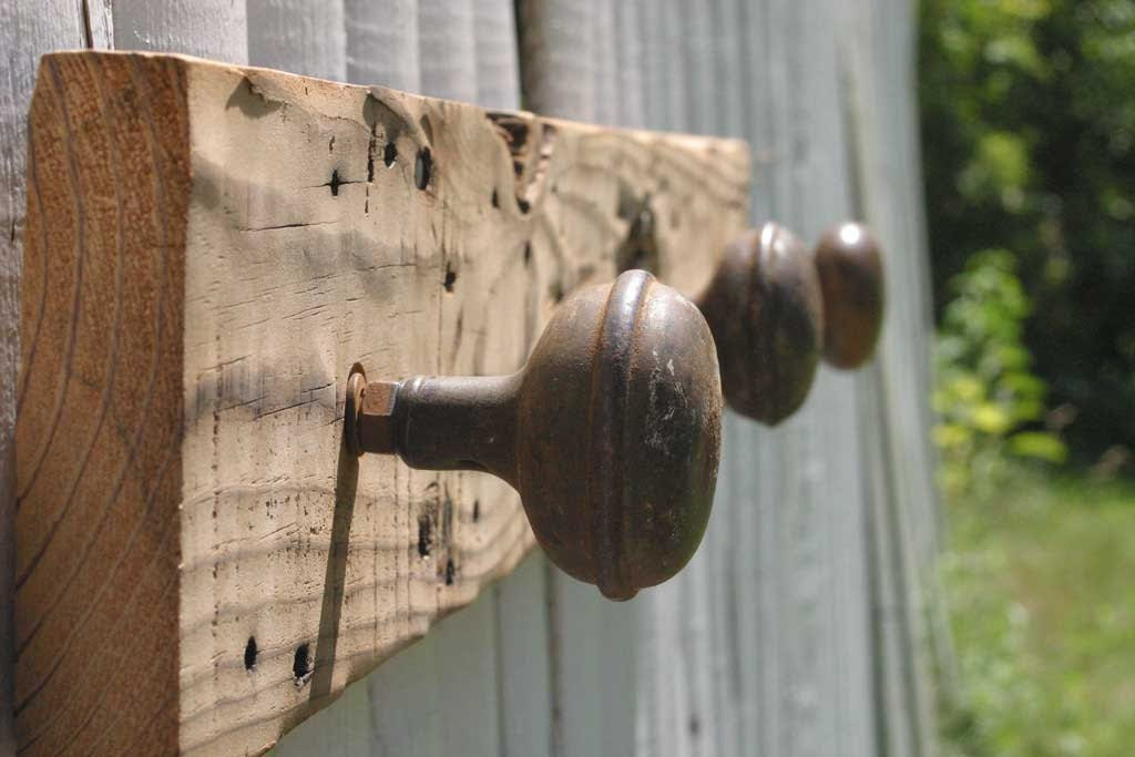 rustic barn wood and antique doorknob coat rack. reclaimed, upcycled
