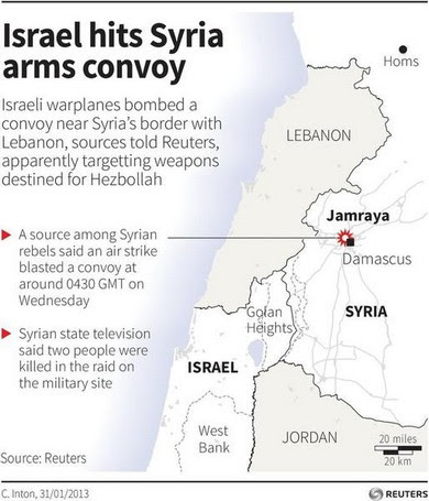 Map locating the Syrian town Jamraya which was reportedly hit by an Israeli air strike on 30 January 2013