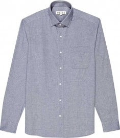 Reiss Pond Soft Chambray Shirt Blue