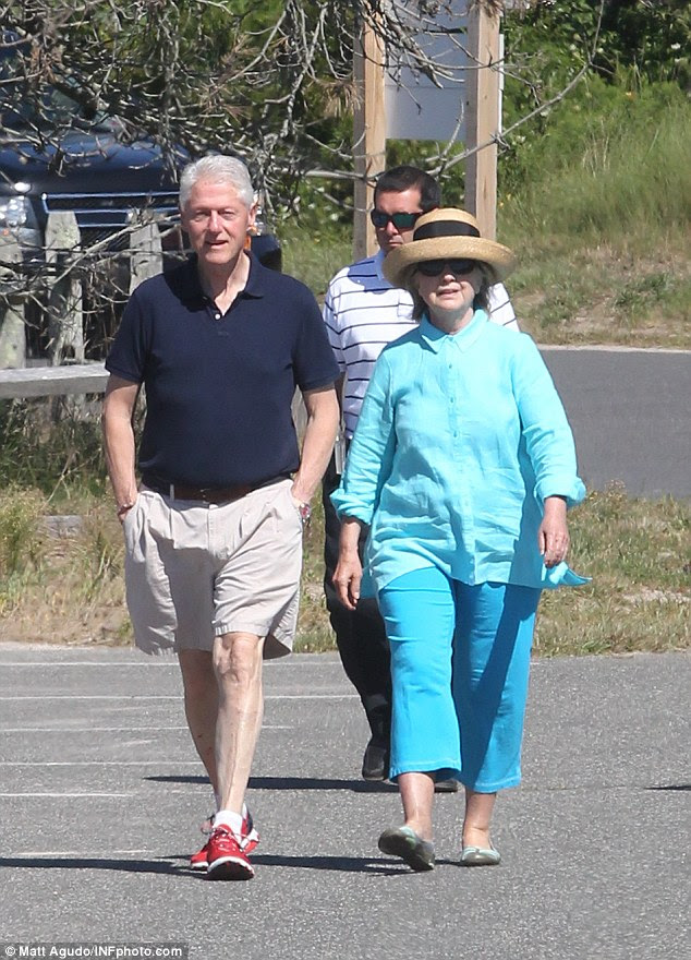 Kellyanne Conway suggested that Hillary Clinton (right) - who has been raising money in the Hamptons this week - is 'following the leader' since Donald Trump accepted the President of Mexico's invitation first and also traveled to Louisiana after the state's severe flooding