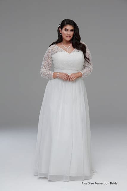 Long sleeve wedding gown Gabbi   Plus size wedding dresses