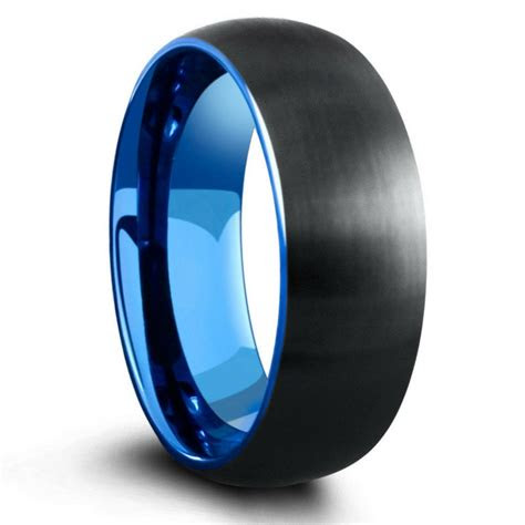 mm domed black brushed tungsten ring  blue interior