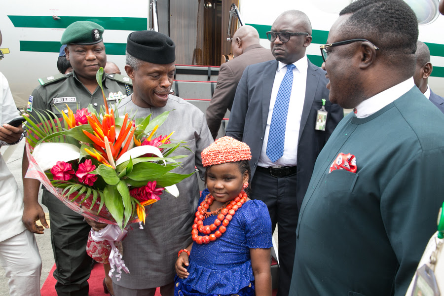 Vice President Yemi Osinbajo received by Cross River state Governor, Prof. Ben Ayade on his arrival at the Portharcourt International airport for the ground-breaking of the historic multi-billion naira Bonny-Bodo Bridge & Road project funded 50% a piece by FG & NLNG .12th October 2017. Photos: NOVO ISIORO