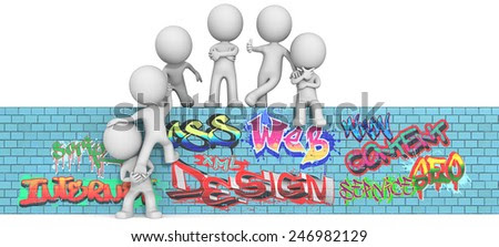 Web Consultancy. The dude 3D character x6 on Graffiti wall.  - stock photo