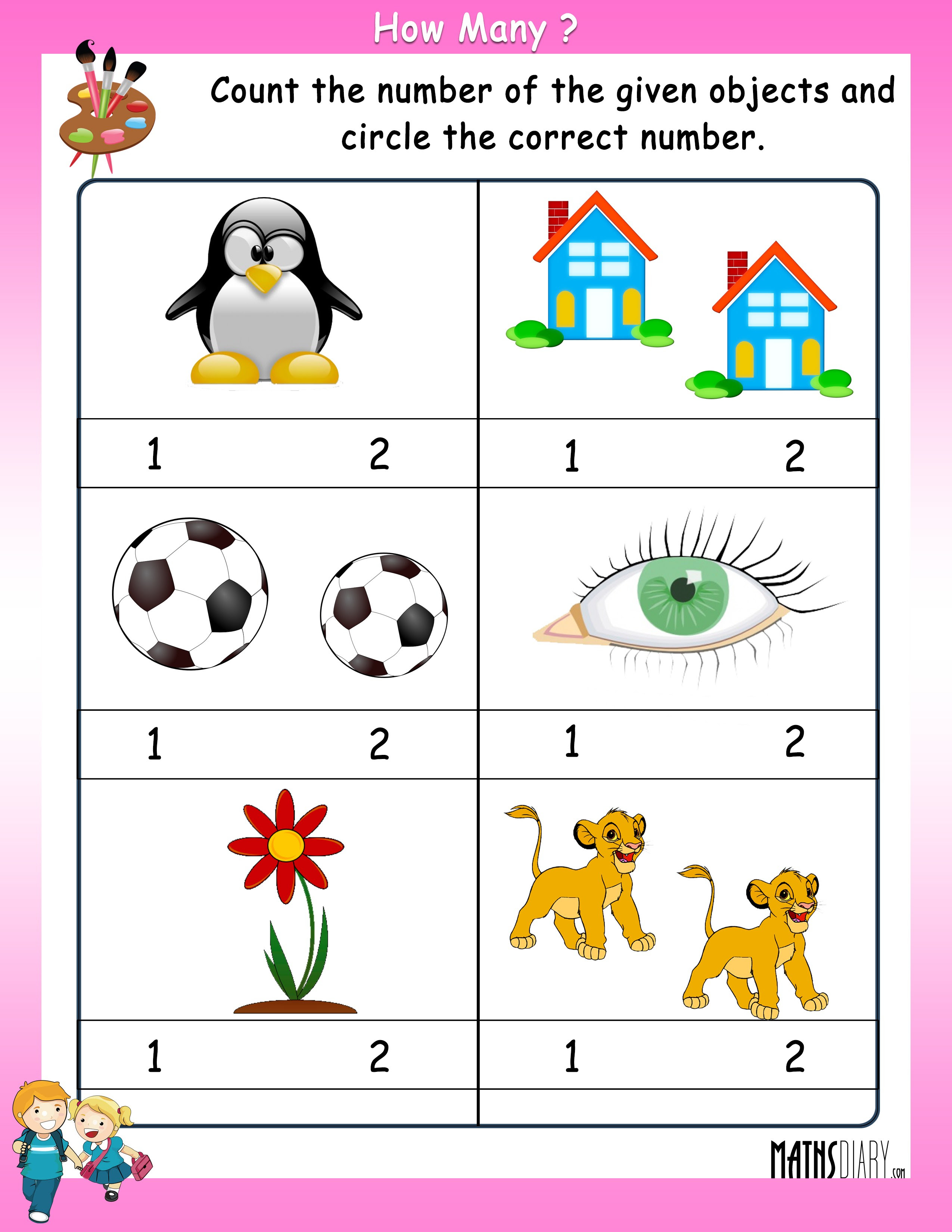 how many objects worksheet 3