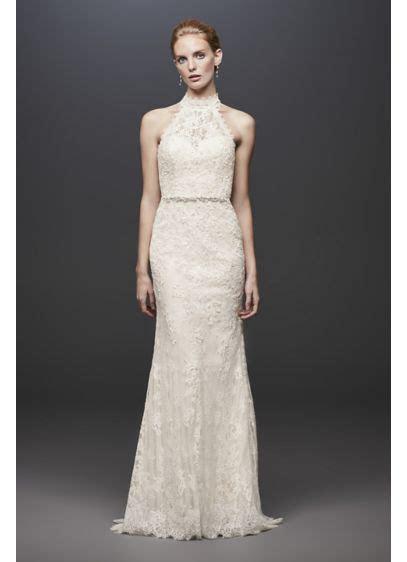 Lace High Neck Halter Sheath Wedding Dress   David's Bridal