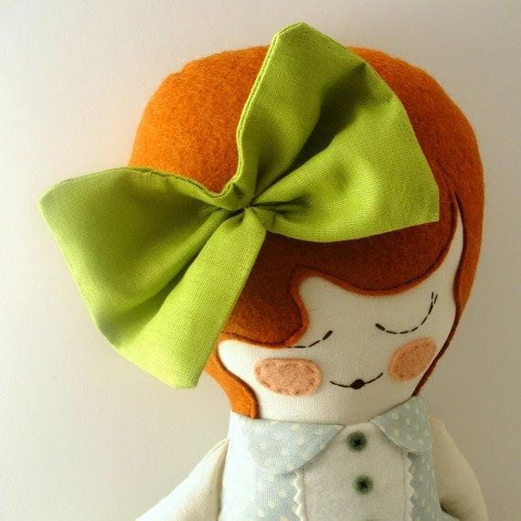 Daisy - handmade cloth doll with linen bow