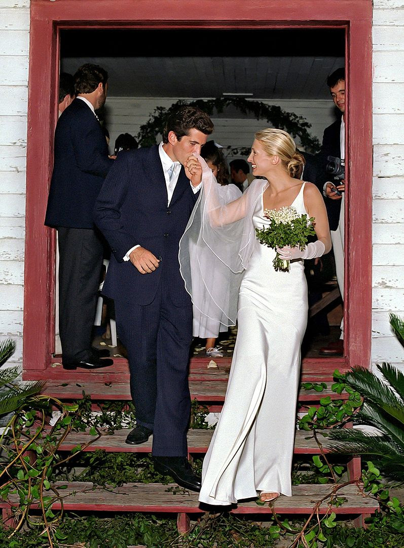 Le Fashion Blog John F Kennedy Jr Carolyn Bessette Wedding Photo 90s Silk Dress