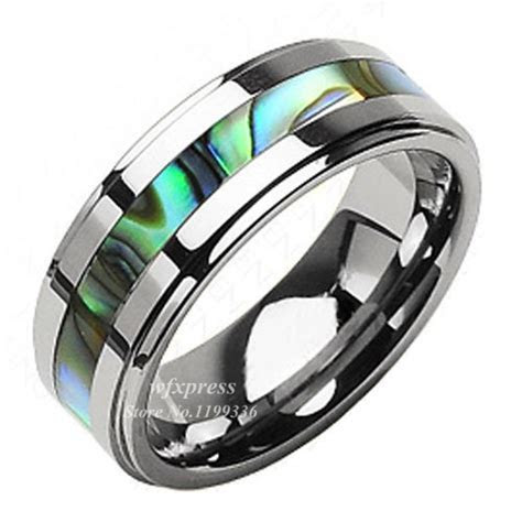 8mm Tungsten Stunning jade Abalone Stripe Inlaid Wedding